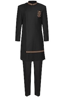 Black Pintucks Embroidered Long Jacket by Amaare