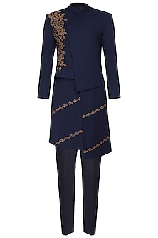 Navy Blue Embroidered Long Jacket by Amaare