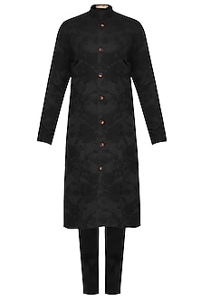 Black Front Open Embroidered Kurta with Pants by Amaare