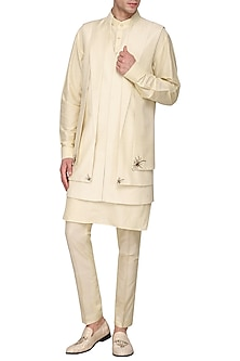 Off White Embroidered Nehru Jacket by Amaare