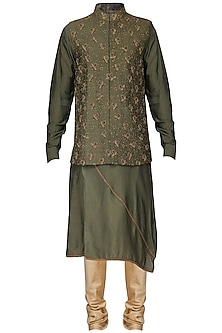 Mehendi Green Embroidered Nehru Jacket with Kurta by Amaare