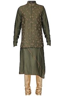 Mehendi Green Embroidered Nehru Jacket with Kurta by Amaare