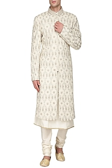 Off White Embroidered Sherwani by Amaare