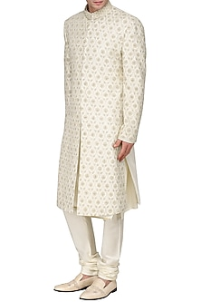 Off White Floral Embroidered Sherwani by Amaare