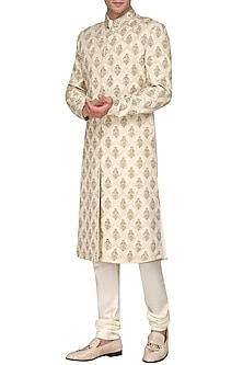 Off White Dabka Embroidered Sherwani by Amaare