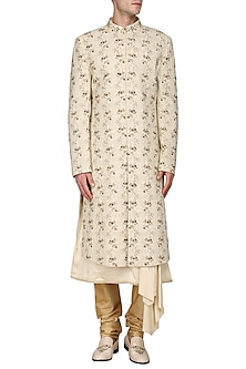 Gold Embroidered Sherwani by Amaare