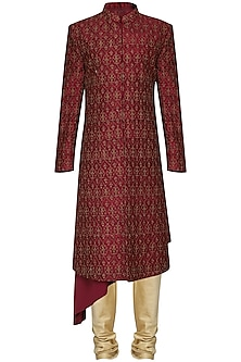 Red Embroidered Sherwani by Amaare