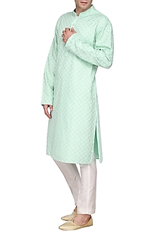 Ice Blue Embroidered Kurta by Amaare