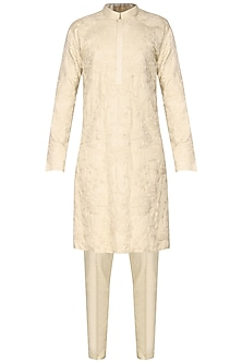 Off White Floral Embroidered Kurta by Amaare
