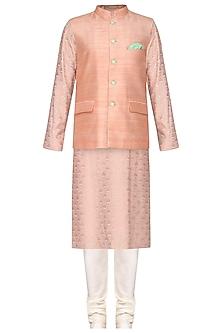 Peach Embroidered Kurta with Nehru Jacket