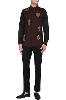 Maroon Embroidered Nehru Jacket with Asymmetrical Kurta by Amaare