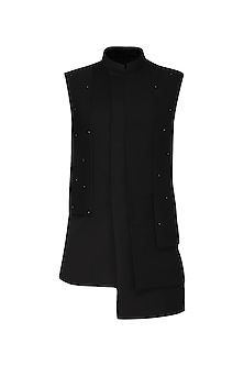 Black Asymmetrical Textured Nehru Jacket