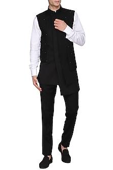 Black Asymmetrical Textured Nehru Jacket by Amaare