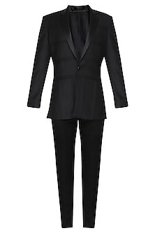 Black Pintucks Tuxedo Jacket