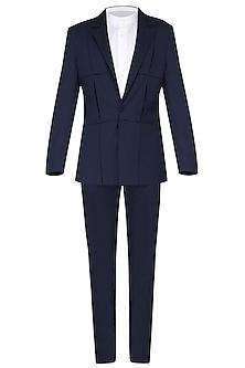 Navy Blue Pintucks Textured Tuxedo Jacket by Amaare