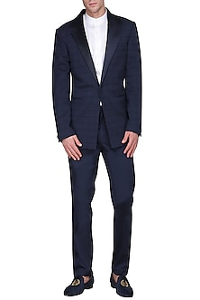 Navy Blue Checkered Pintucks Tuxedo Jacket by Amaare