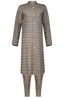 Grey front open embroidered kurta with pants