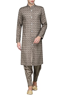 Grey front open embroidered kurta with pants by Amaare