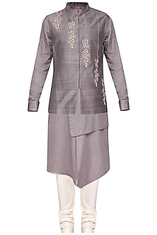 Grey kurta set with embroidered nehru jacket