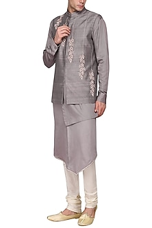 Grey kurta set with embroidered nehru jacket by Amaare