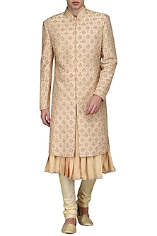 Peach kurta set with embroidered sherwani by Amaare