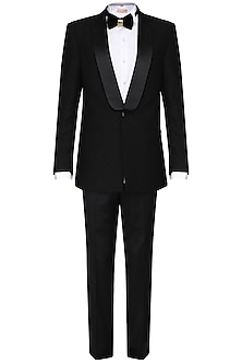 Black pintucked tuxedo with trousers