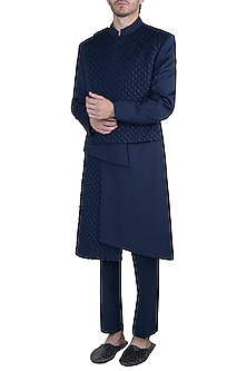 Navy blue bandhgala jacket with pants by Amaare