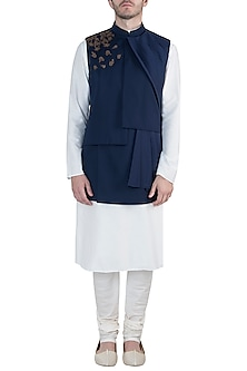 Blue embroidered nehru jacket by Amaare