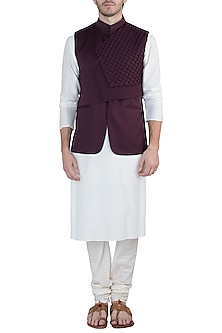 Wine textured nehru jacket by Amaare