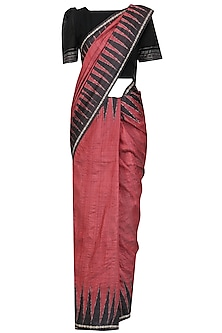 Crimson Ikat Print Saree and Black Blouse Set