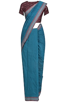 Blue Handwoven Saree and Maroon Blouse Set