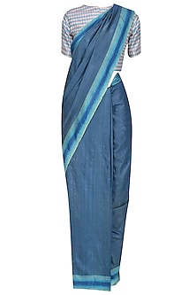 Blue Handwoven Saree and White Ckeckered Blouse Set