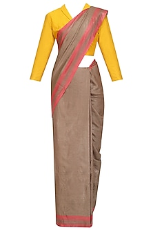 Beige Handwoven Saree and Checkered Blouse Set