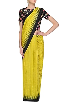 Lemon Yellow Ikat Print Saree and Floral Blouse Set by Amota by Priti Sahni