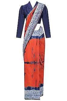 Navy Blue and Orange Tye and Dye Saree and Blouse Set
