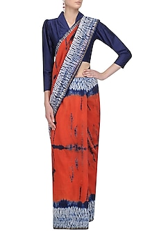 Navy Blue and Orange Tye and Dye Saree and Blouse Set by Amota by Priti Sahni