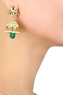 Gold Finish White and Emerald Glass Stone Jhumki Earrings