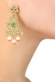 Gold Finish White and Emerald Glass Stone Earrings