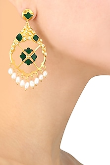 Gold Finish Emerald Glass Stone and Pearl Earrings