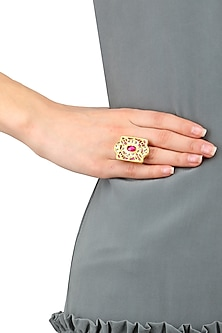 Gold Finish Ruby and White Glass Stone Ring