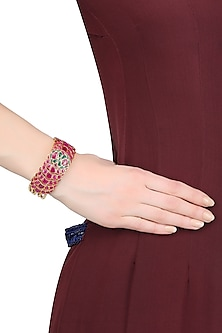 Gold Plated Red And Green Onyx Stones Adjustable Bracelet