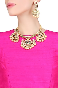 Gold Plated Crystals And Pearl Peacock Motifs Necklace Set