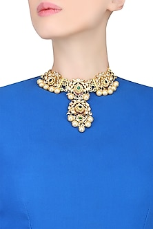 Gold Plated Stones And Crystal Necklace