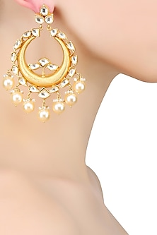 Gold Plated Crystals And Pearls Drops Crescent Earrings