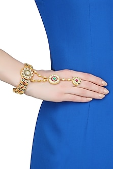 Gold Plated Green And Red Glass Onyx Stone Hand Harness/ Haathphool