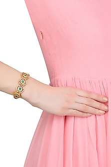 Gold Plated Green Onyx And Red Crystals Hexagon Motif Bracelet