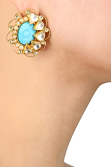 Gold Plated Turquoise Stone Stud Earrings