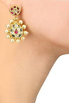 Gold Plated Pink and Green Tear Drop Shape Earrings