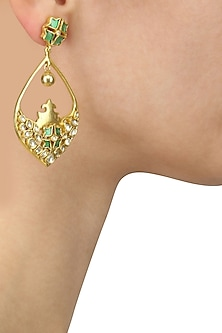 Gold Plated Green and Pink Glass Crystal Earrings