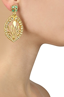 Gold Plated Green and Pink Glass Crystal Petal Shape Earrings